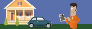 Homme avec une calculatrice en main, à côté d'une maison et d'une voiture.